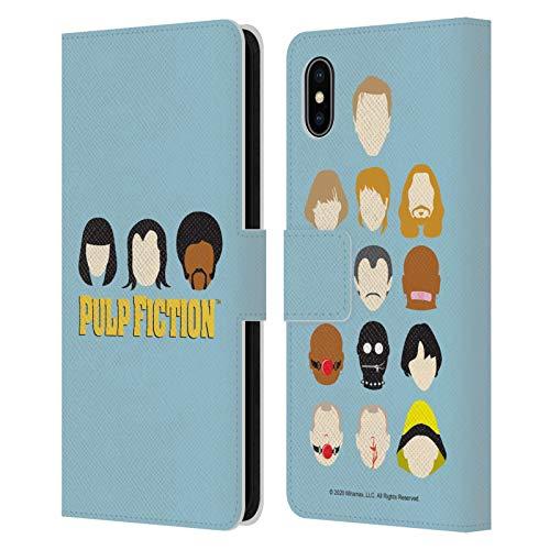 Head Case Designs Licenza Ufficiale Pulp Fiction Facce Arte Cover in Pelle a Portafoglio Compatibile con Apple iPhone XS Max