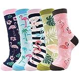 Belloxis Flamingo Socken Damen, Lustige Bunte Socken Damen 35 – 38 Geschenk
