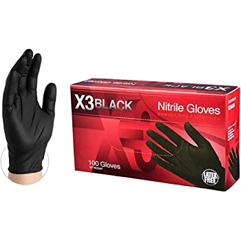 AMMEX X3 Industrial Black Nitrile Gloves, Box of 100, 3 mil, Size XLarge, Latex Free, Powder Free, Textured, Disposable, Non-Sterile, BX348100-BX