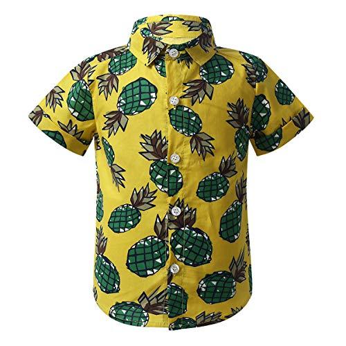 dPois Baby Kleinkind Jungen Hawaiihemd Sommer Freizeithemd Hemd Top mit Ananas Muster Kurzarm Urlaub Strand Outfits Gelb 92-98/2-3 Jahre