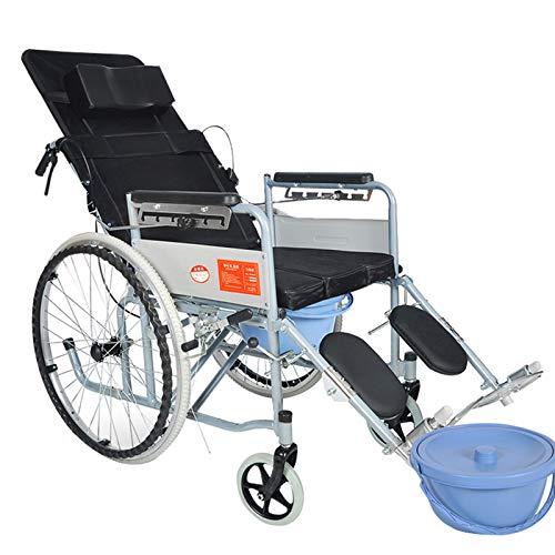 Commode Chair ALY 4 In 1 Toilettenstuhl Rollstuhl Falten äLtere Mobile Flach Lag Toilettensitz Wasserdicht Duschstuhl Mit Pedal Und Handbremse -198lb