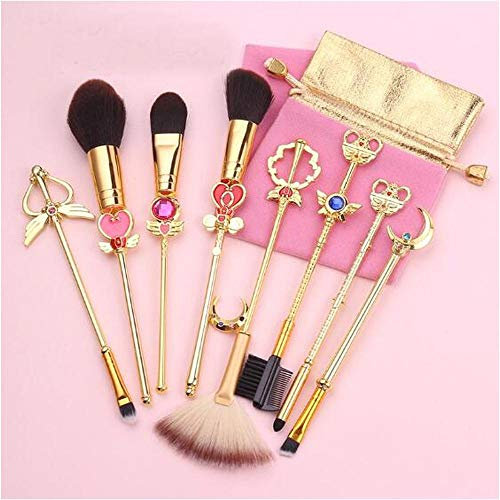HZD 8Pcs Anime Makeup Brush Cosmetic Tools Toiletry Beauty Stick Rod Brush Gift Women Girl,A