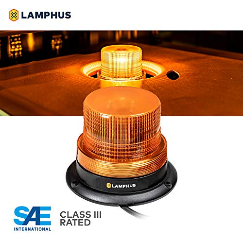 LAMPHUS Mini-Aura 4' 4W LED Beacon Warning Strobe Light [SAE Class 3] [38 Flash/Rotate Patterns] [9' Cigarette Lighter Adapter] Warning Emergency Vehicle Lights for Cars & Trucks - Amber