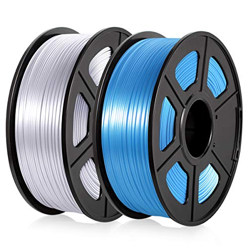PLA 3D Drucker Filament 1.75mm PLA Silk Filament 2KG für 3D Drucker, PLA Shiny Silk Silver+Blue