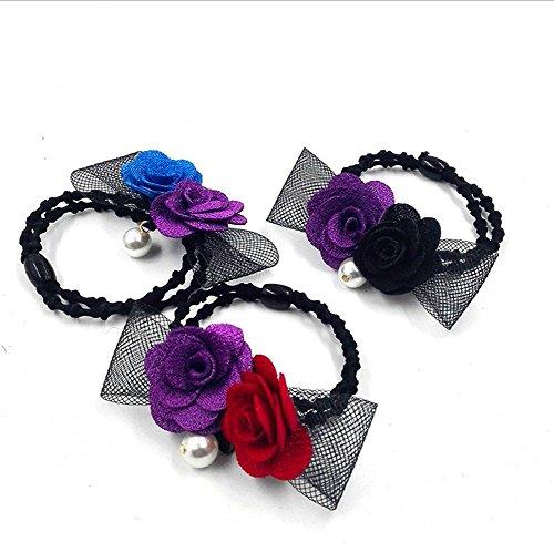 2 pcs femmes filles double Rose Perle Cheveux Bandes de cordes Cravate Bague élastique Queue de cheval support Accessoires pour cheveux, couleur aléatoire