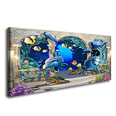D72862 Canvas Wall Art 3D Dolphin Turtle and Fi...