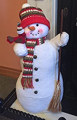 Large Smiley Fireside Snowman dressed in hat & scarf with broom Christmas Decoration