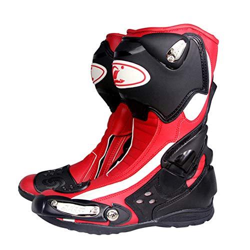 XHXMM Botas Moto Motocicleta Deportivas Hombre Armadura Impermeable Cuero, Protectores Rígidos Integrados Estables, con Protección de Tobillo, para Conducir de Moto en Carretera,Rojo,45
