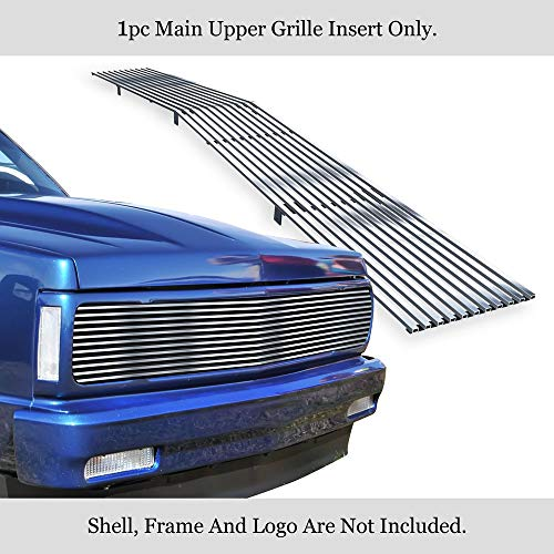 APS Compatible with 1991-1994 Chevy Blazer & 91-93 Chevy S-10 Phantom Main Upper Stainless Steel Polished Chrome 8X6 Horizontal Billet Grille Insert C85232S