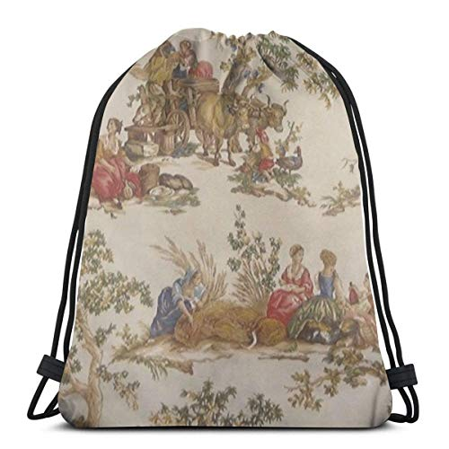 Guduss Shoulder Drawstring Bag French Country Toile Print MoJo Backpack Sport Bag String Bags School Rucksack Gym Travel Pouch Lightweight