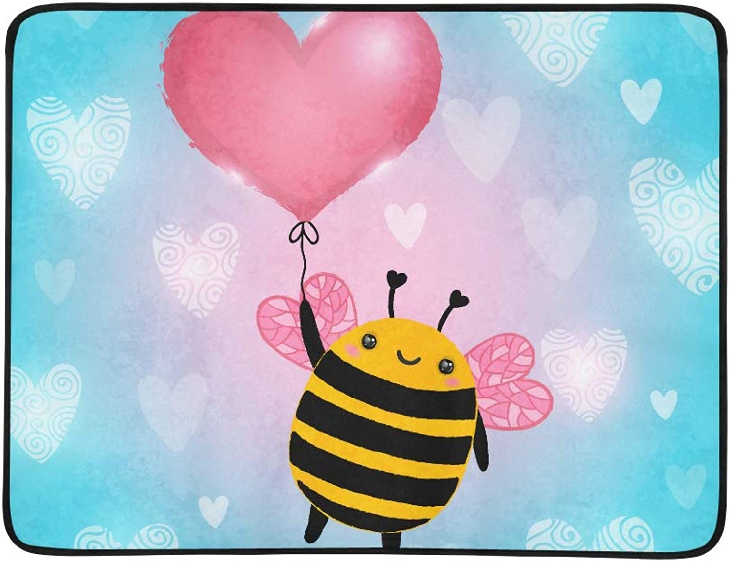 Cute Queen Bee with Heart Balloon Pattern Portable and Foldable Blanket Mat 60x78 Inch Handy Mat for Camping Picnic Beach Indoor Outdoor Travel
