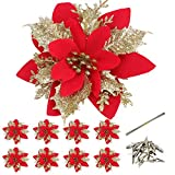 Efivs Arts 8 Pcs Artificial Poinsettia Christmas Flowers with Clips and Stems Glitter Christmas Tree Ornaments for Xmas Wreath Wedding,Restaurant Decoration (RedGold)