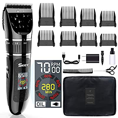 SKEY Professional Hair Clippers - Rechargeable Hair Beard Trimmer Cordless Haircut Kit with Titanium & Ceramic Waterproof Blades for Wet/Dry Cut, 2-Speed Adjustable with LCD Display, and Travel Bag