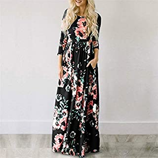 QGTDRESS Women Long-Sleeved Print Flower Elegant Dress Big Swing Skirt, Size:M(Black) (Color : Black)