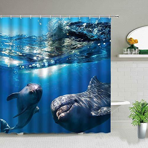 XCBN Juego de Cortina de Ducha con diseño de delfín y Animal Marino con luz Solar, Estampado de Peces Tropicales, decoración Impermeable para baño, Cortinas Colgantes A3 200x200cm