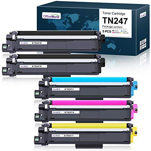 OfficeWorld Compatible Brother TN247 TN243 TN-247 TN-243 Cartouche de Toner pour Brother MFC-L3750CDW MFC-L3730CDN MFC-L3710CW MFC-L3770CDN, HL-L3230CDW HL-L3270CDW HL-L3210CW, DCP-L3550CDW L3510CDW