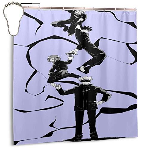 LeosWare Juj-Utsu Kai-Sen Duschvorhang dekorativer Druck, 183 x 183 cm, pflegeleichter Duschvorhang für Badezimmer-Duschen, Badewannen mit Edelstahl-Haken