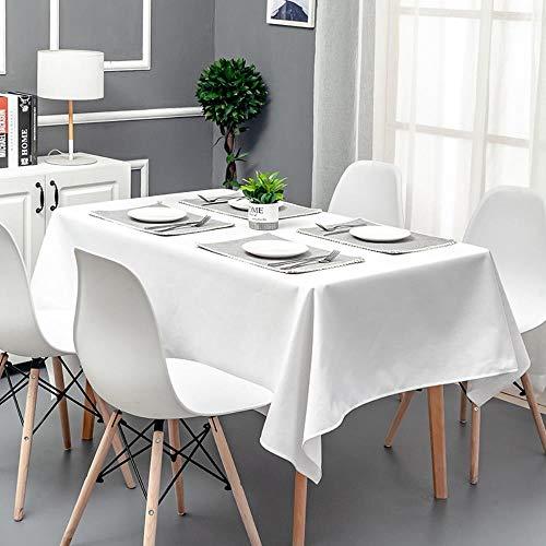WJ - Mantel Rectangular Impermeable y Resistente al Aceite, Color Blanco, Blanco, 120 x 120 cm