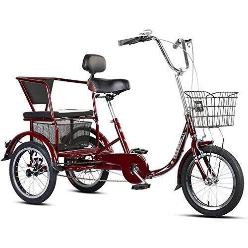 Triciclo per Adulti Tricicli Adulti Adult Tricycle Triciclo per adulti con cesto, 3 ruote Bike da 16 pollici An Seniors adulto An Seniors Cruiser Bici, Biciclette a tre ruote per le donne Men Bin Begi
