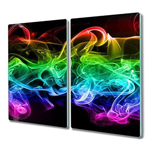 Coloray 2x30x52 tabla de cortar tablero de vidrio para la cocina protector induccion Vidrio Placa de tabla madera para cortar - humo de colores