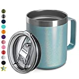 12oz Stainless Steel Insulated Coffee Mug with Handle, Double Wall Vacuum Travel Mug, Tumbler Cup with Sliding Lid, MINT GLITTER