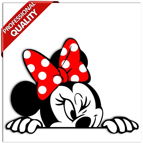 Biomar Labs® 1 Stück Vinyl Lustiger Aufkleber Autoaufkleber Minnie Mouse Minni Maus Funny Sticker Auto Motorrad Fenster Fahrrad Tuning B 246