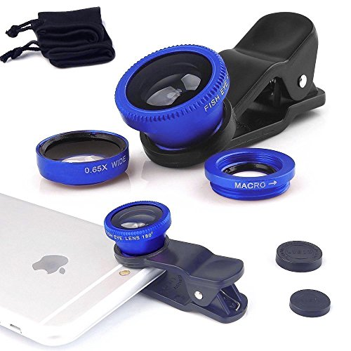 I-Sonite (Blue) Mobile Phone Universal Camera Lens 3 In 1 Kit Wide Angle Lens + Fisheye Lens + Macro Lens With Clip-On 180 Degree For Samsung Galaxy J7 Max