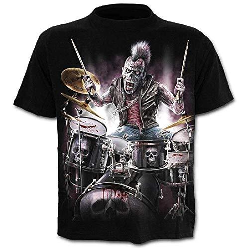 Camiseta - Rock - Camisa de Calavera - Calavera - 3D - música gótica de Metal - Hombre - Hombre - Manga Corta - Mujer - Mujer - Idea de Regalo Original - diversión - Disfraz - c03 - Talla XXL