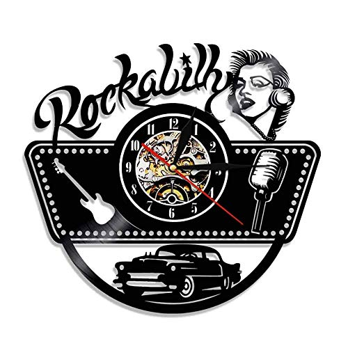 BFMBCHDJ Rockabilly Vinyl Record Wanduhr Modernes Design Rockmusik Silhouette Vinly Uhr mit LED-Beleuchtung Wanduhr Home Decor