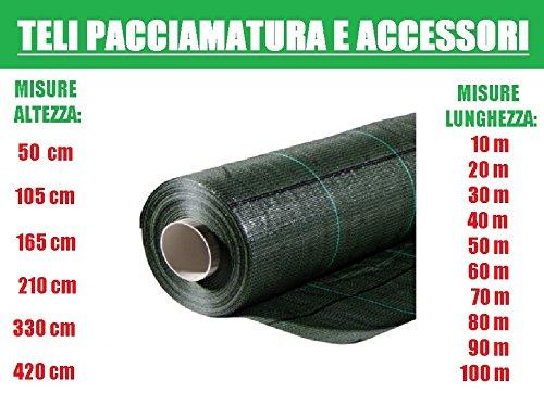 ITALFROM Teli Telo per PACCIAMATURA Verde QUADRETTATO Tessuto Polipropilene ANTISTRAPPO- mt 40 x 1.05h
