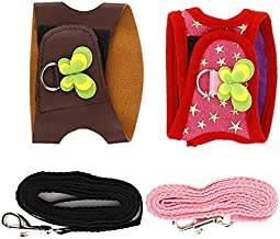 Sheens 2Pcs Hamster Harness and Leash Soft Breathable Small Pet Harness No Pull Comfort Padded Vest for Guinea Pig Hamster Rats and Similar Small Animals(S)