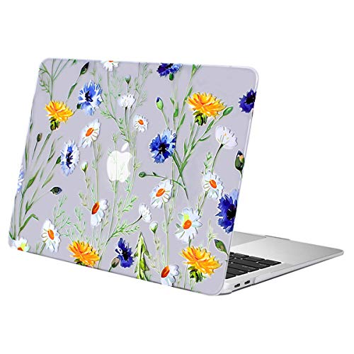 MOSISO MacBook Air 13 Inch Case 2020 2019 2018 Release A2337 M1 A2179 A1932, Plastic Pattern Hard Case Shell Only Compatible with MacBook Air 13 inch with Retina Display, Clear Base Daisy