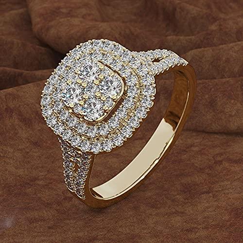 YANGYUE Anillo de Diamantes de 2 Quilates para Mujer, Caja de Anillos de Diamantes de joyería de Plata de Piedras Preciosascuadradas925 para Mujer