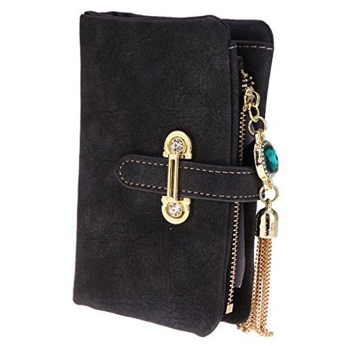 Hellery Fashion Women Pu Leather Bifold Wallet Clutch Card Holder Lady Purse Handbag - Noir