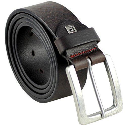 Pierre Cardin Mens leather belt / Mens belt, full grain leather belt, dark brown, Size:100