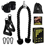 KMM Tricep Rope Cable Machine Attachment, Heavy Duty Triceps Pull Down Rope with Resistance Band Handles, Ankle Strap Carabiner Clips, Nylon Home Gym Accessories for Arm Strength Workout Training