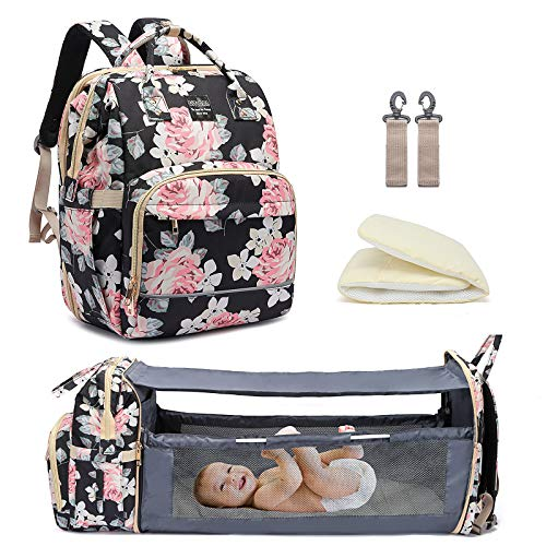 Baby Changing Bag Backpack with Travel Bassinet,Detachable Foldable Baby Bed for Bady Toddler, 3 in 1 Nappy Bags Changing Station, Travel Diaper Bag with Crib,Shade Cloth,Mattress