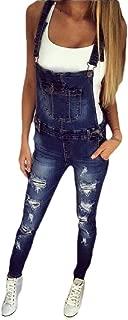Macondoo Women's Basic Trousers Denim Hole Jean Pencil Overalls