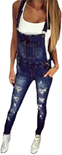 Macondoo Women's Basic Trousers Denim Hole Jean Pencil Overalls