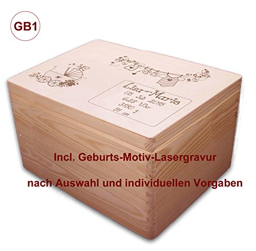 MidaCreativ zur Geburt, große Holz-Geschenkbox Gr. 3, Kiefer incl. Auswahl-Lasergravur (GB1) optional auch abschließbar