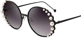 ValueYee 真珠の丸いサングラス、クラシックデザイナーレトロ屋外UV 400紫保護ユニセックスビンテージスタイルサングラス、夏、ファッション、旅行、ビーチ、INSスタイルValueYee
