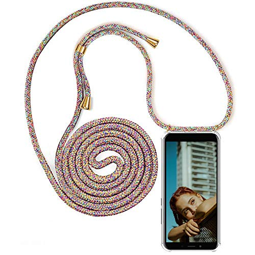 MXKOCO Carcasa de movil con Cuerda para Colgar LG K50S Case con Correa Colgante/TPU Necklace con Banda- con Cordon para Llevar en el Cuello - Arcoiris
