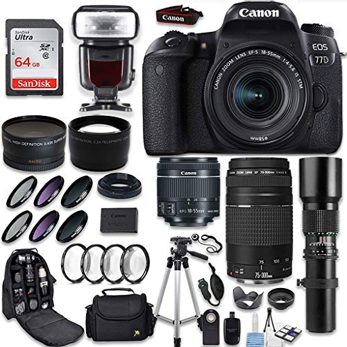 Canon EOS 77D DSLR Camera + Canon EF-S 18-55mm is STM Lens + Canon EF 75-300mm Lens & 500mm f/8.0 Lens + 0.43 WideAngle Lens + 2.2 Telephoto Lens + Macro Close-ups + Accessories (Holiday Special Kit)