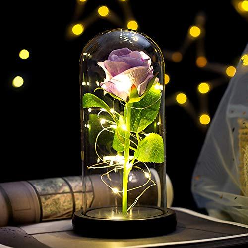 Rosa Bella y Bestia Flor Artificial con Luz LED Kit Rosa de Seda en Cúpula de Cristal Rosa Encantada Decoración Regalo para Día de San Valentín Aniversario Boda Cumpleaños (22*11.5CM, Flor Morado)