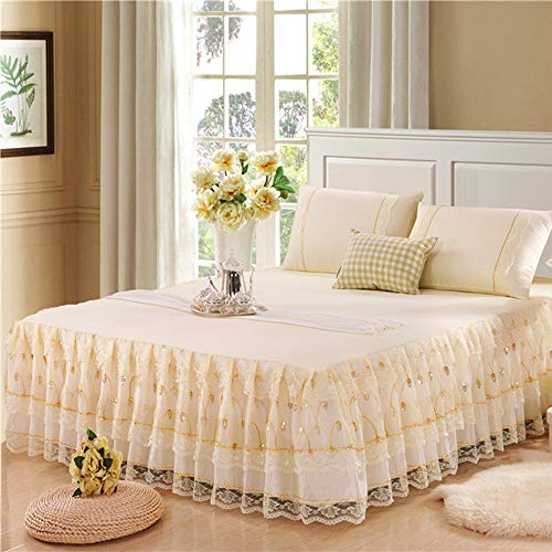 Bettrock Tagesdecke Rüschen Bett Rock Bett Volant Tagesdecke Mit Rüschen Faltenresistent Und Ausbleichen Beständig,Color3-180x200cm(71x79inch)