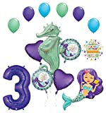 Mermaid Wishes and Seahorse 3rd Birthday Party Supplies Balloon Bouquet Decorations