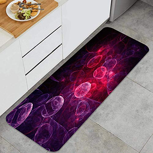 TTLUCKY Juegos de alfombras de Cocina Multiusos,diseño de Portada de Fondo Fractal Web Rosa,Alfombrillas cómodas para Uso en el Piso de Cocina súper absorbentes y Antideslizantes