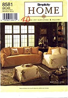 Simplicity 8581 Home Decor Sewing Pattern Donna Lang Pillow Chair Slipcover Loveseat Sofa Ottoman