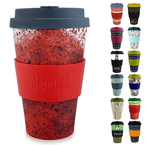 Morgenheld Dein trendiger Bambusbecher | Coffee-to-Go-Becher | Kaffeebecher mit Silikondeckel und Banderole in coolem Design 400 ml (Red)