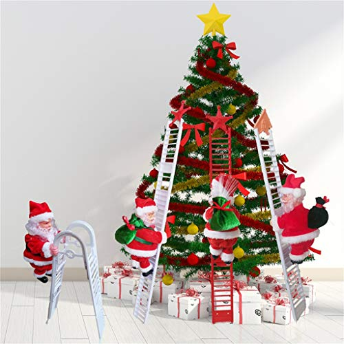 DFVVR LED Christmas Decoration Santa Claus Electric Climbing Hanging Xmas Toys 2pcs, Electric Climbing Beads Climbing Ladder Santa Flannel Holiday Doll Toys, Toys and Hobbies (Multicolor)